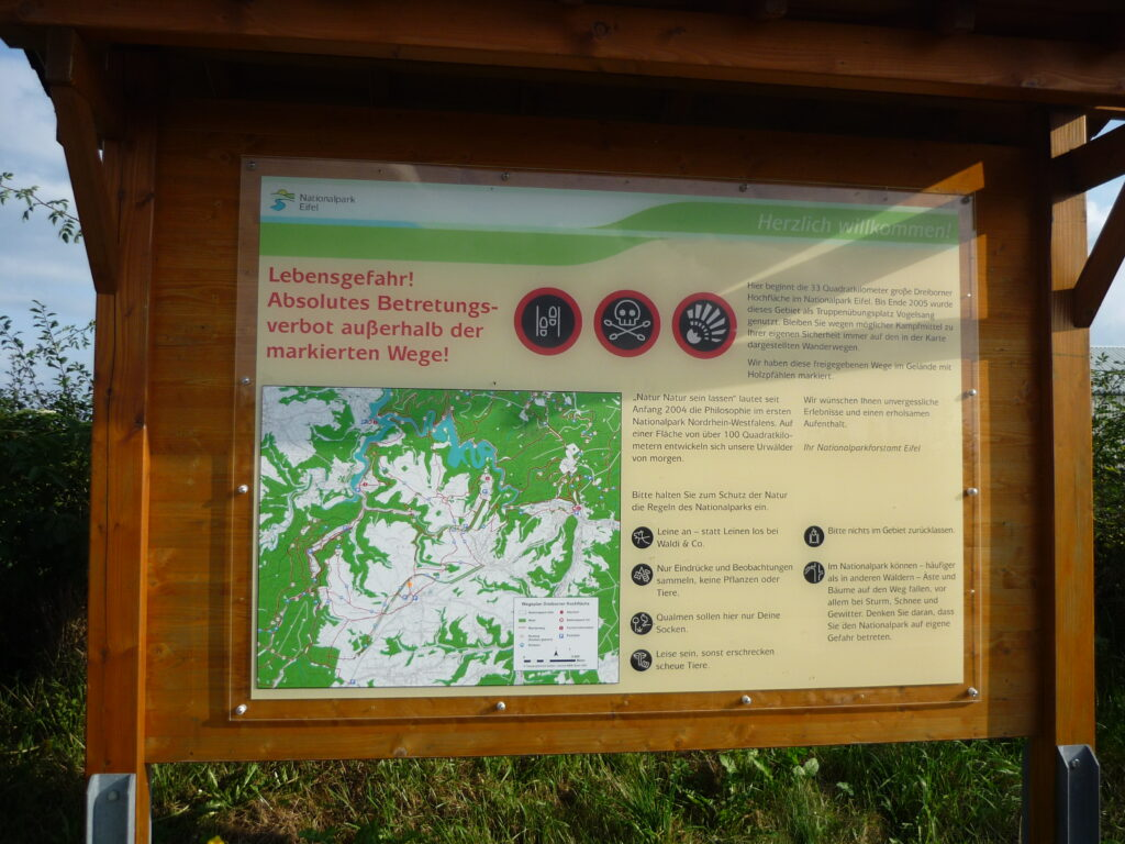 This sign in the Dreiborn area of the Eifel National Park made me think.