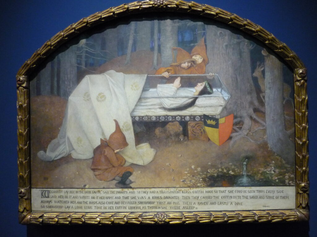 Painting of Snowwhite asleep in a glass case in the forest. Wallraf Museum, Cologne.