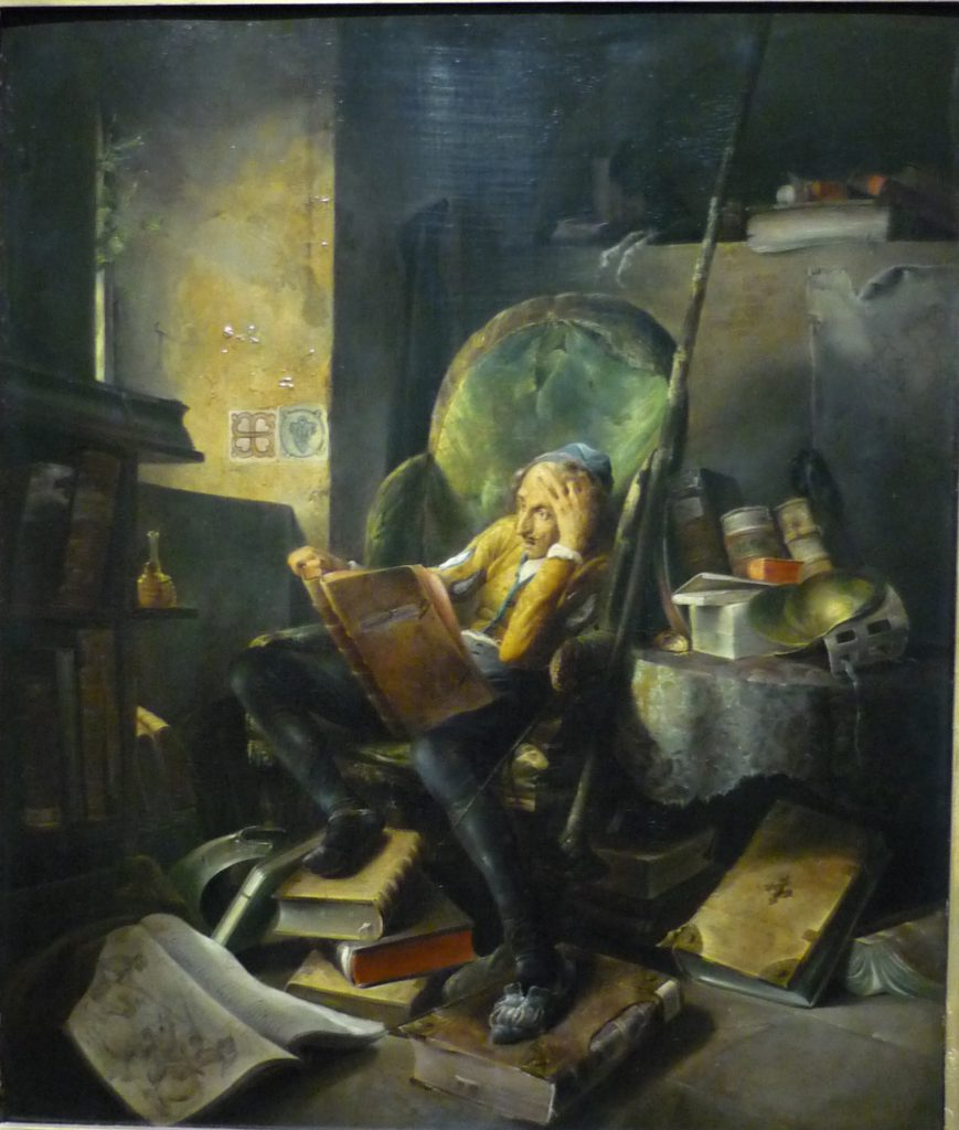 painting of reading man in a big green chair