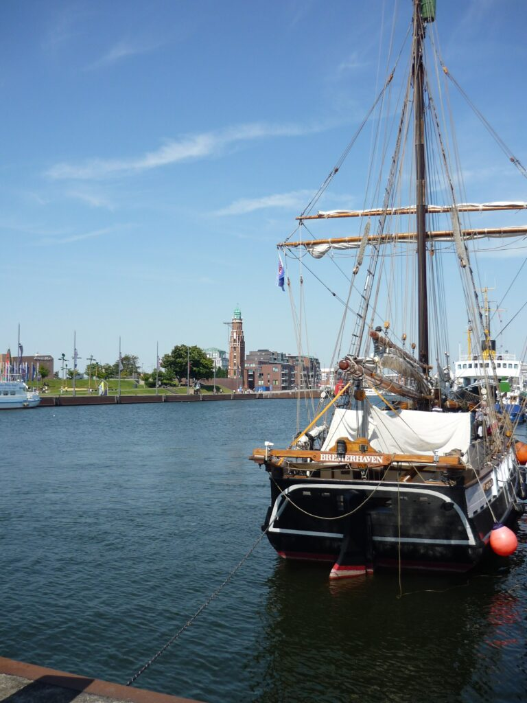Double-masted sailing ship in Bremerhaven harbor
