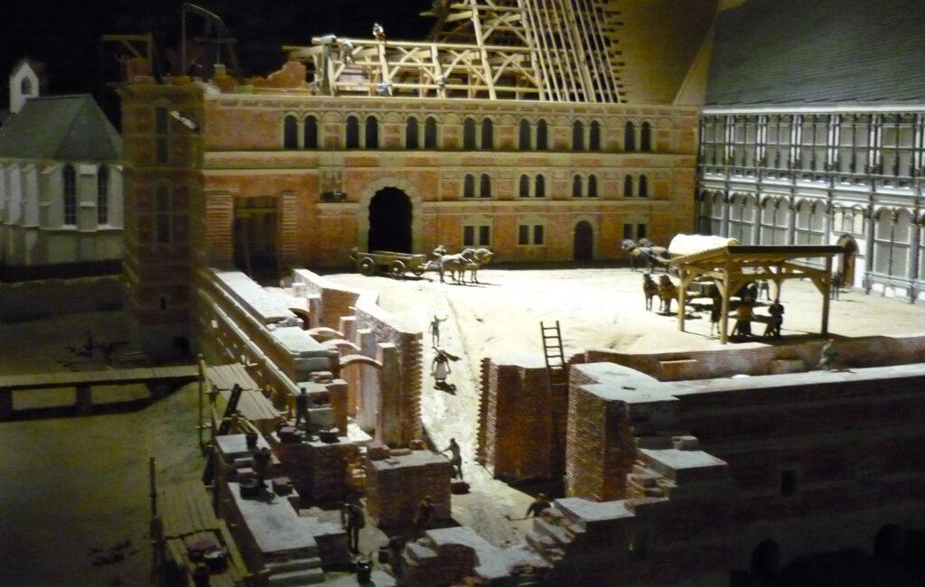 Detailed 3D model of castle, church, moat and outbuildings. Schloss Horst Museum, Gelsenkirchen, Germany.