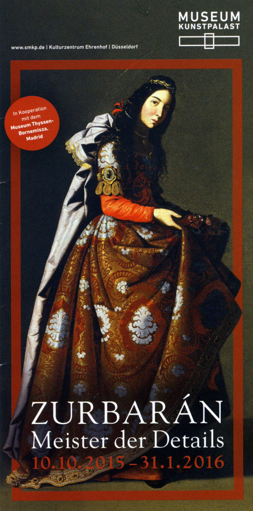 Brochure for Zurbaran exhibit showing painting of woman in red, brocade, dress, long black hair, ivory face and a scratch that symbolizes a halo.