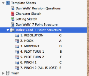 Screen shot of Template Sheets folder in Scrivener's Binder showing location right above Trash.
