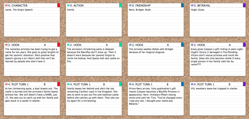 screenshot of Scrivener index cards
