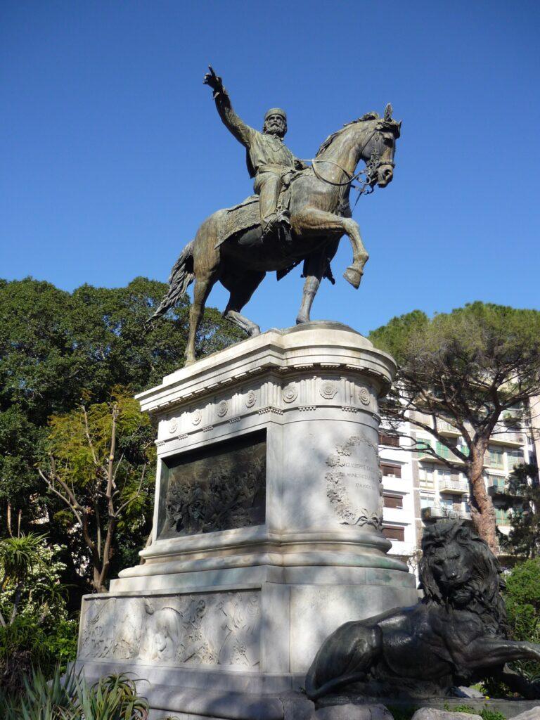 Bronze of hero Garibaldi on horseback.