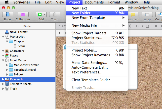 Screenshot of Scrivener showing highlighted Research folder and Project--New Folder drop down menu.
