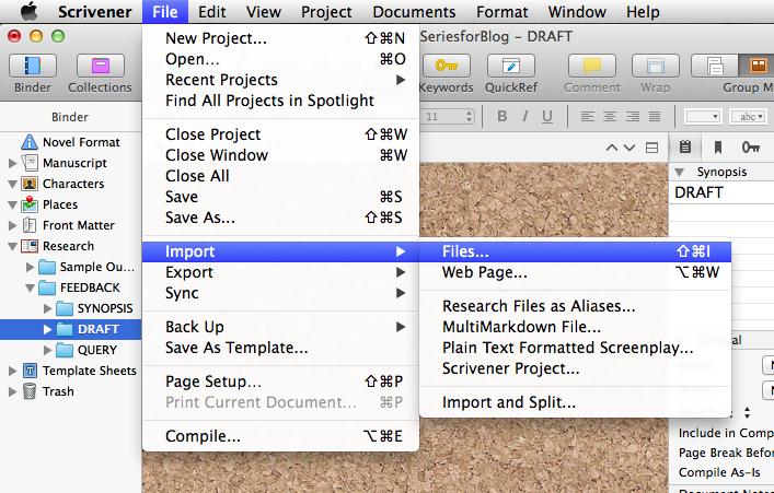 Screenshot of Scrivener File--Import--Files