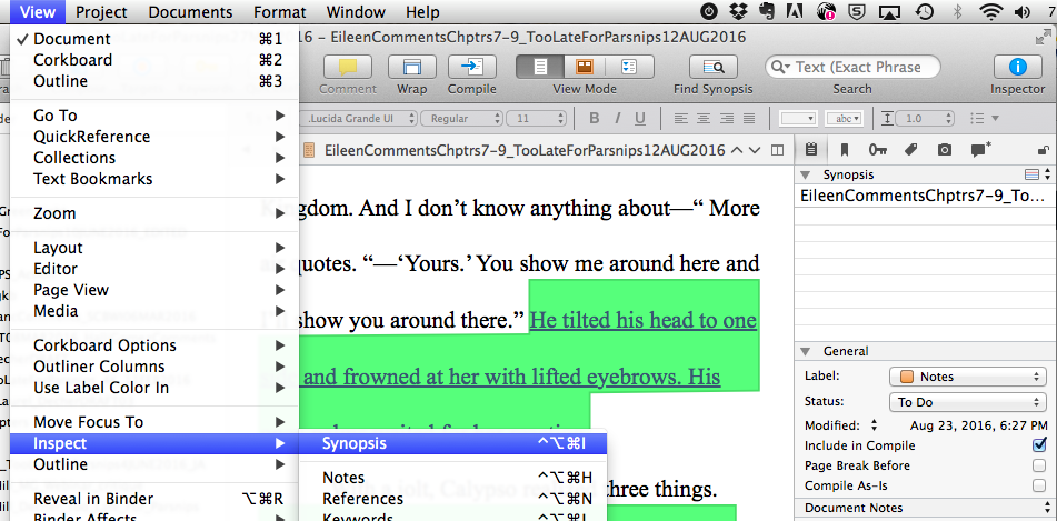 Screenshot of Scrivener's View--Inspector--Synopsis menus