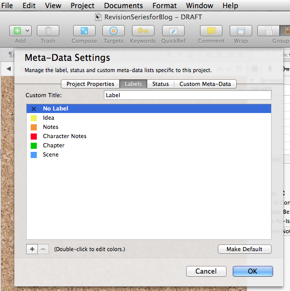 Screenshot of Label menu showing categories and colors