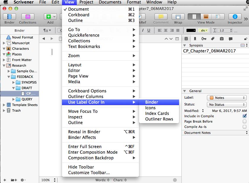 Screenshot of View--Use Label Color in Binder menus
