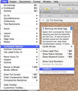 Screenshot of Scrivener--View--Corkboard Options--Freeform option