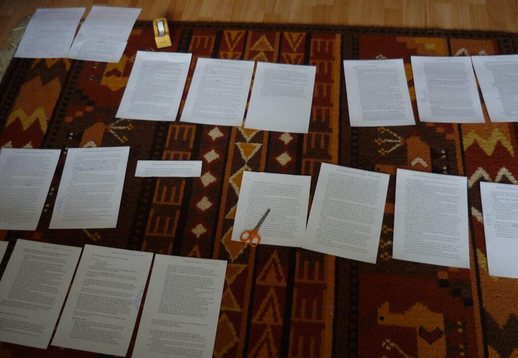 manuscript pages spread out on a carpet