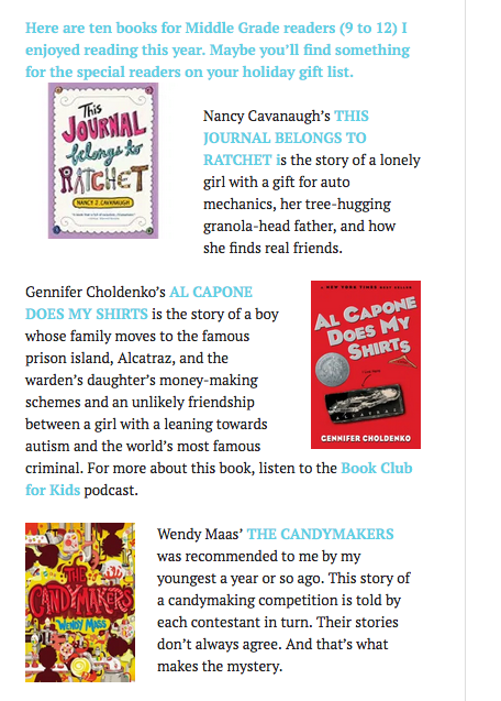 screen shot of blog post recommending more books