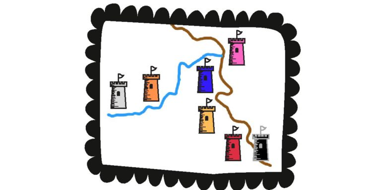 comic drawing of 7 castle towers with their locations on the Rhine (brown) and Mosel (blue) Rivers