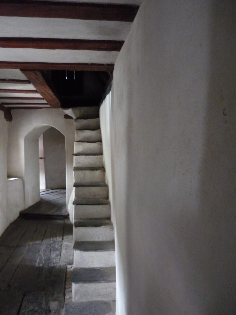 inside staircase and hallway in Pfalzgrafenstein castle