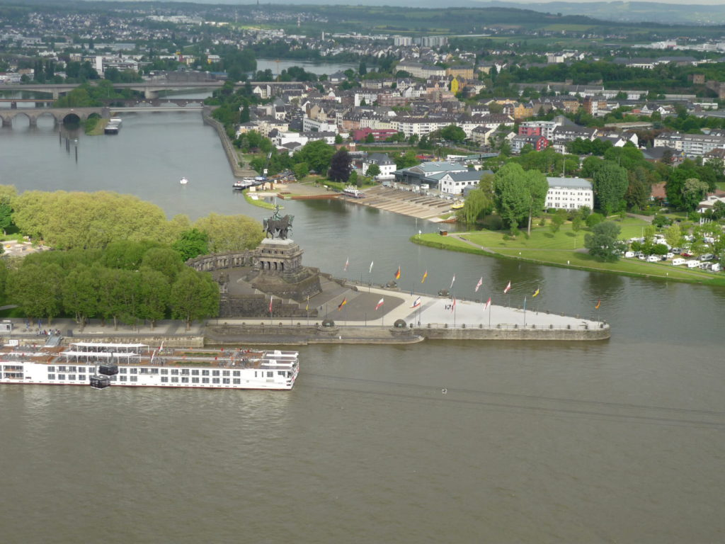 View from Ehrenbreitstein Fortress. Rhine and Mosel Rivers come together at the Deutscher Eck.