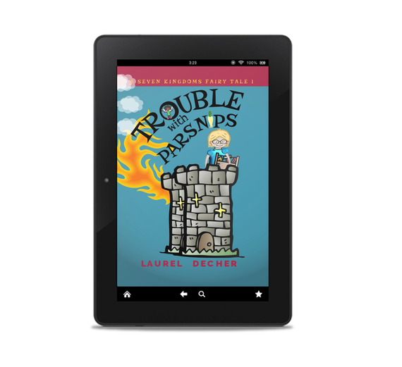 ebook reader showing Trouble With Parsnips cover