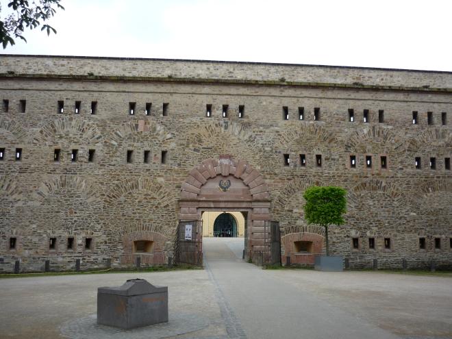 Gate in giant stone wall of Festung Ehrenbreitstein