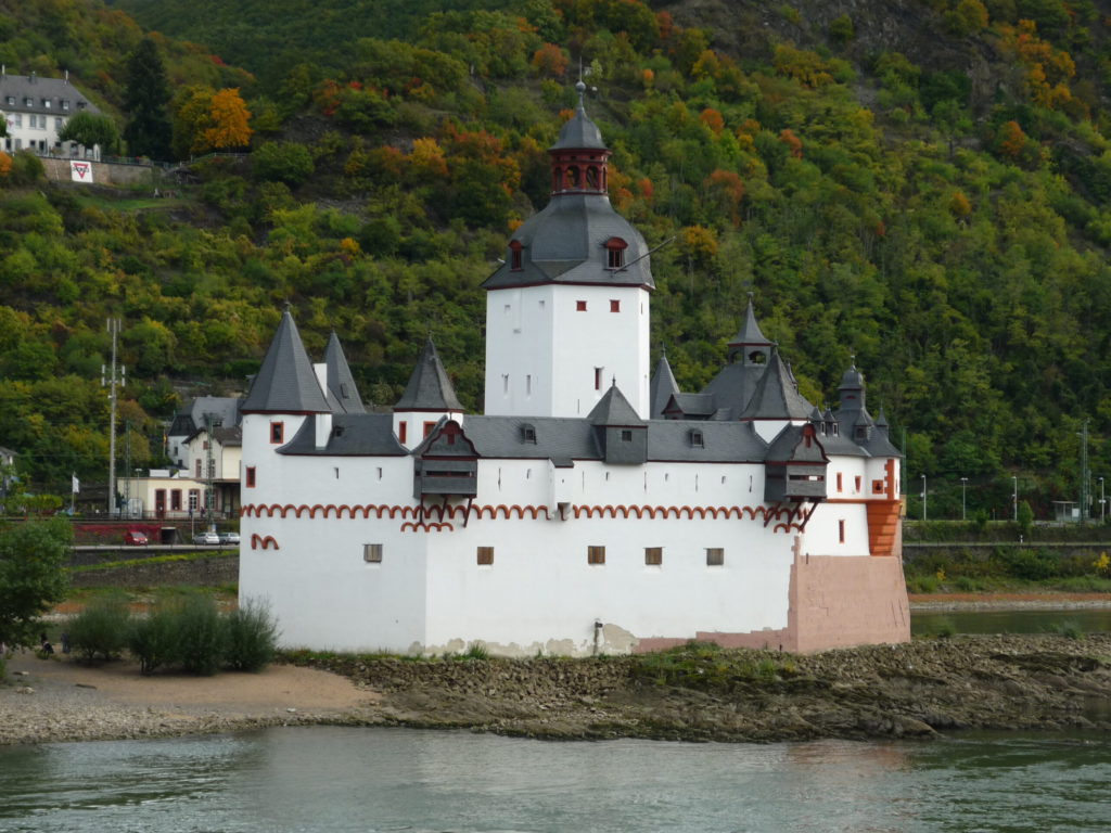Kaub castle on an island in the middle of the Rhine River