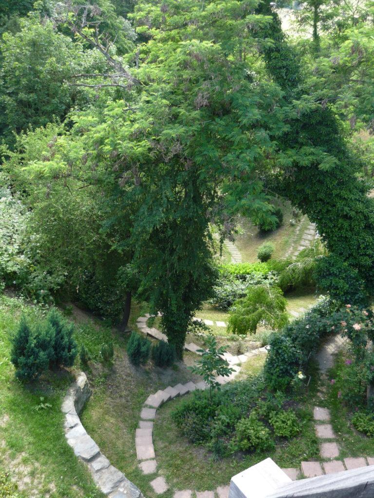 winding paths in castle garden