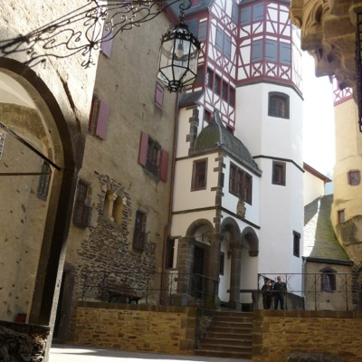Interior castle courtyard. Half-timbered houses nestled together for safety.
