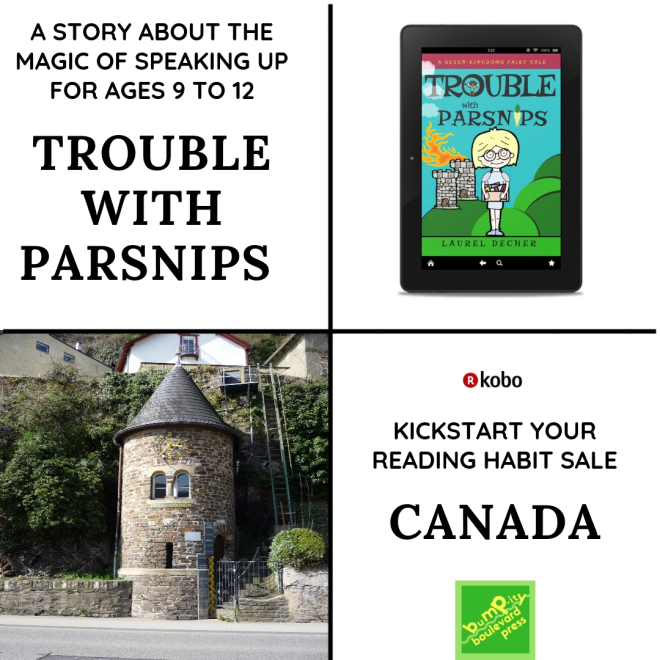 ad for Kobo Canada sale showing Trouble with Parsnips on an ereader and the High Water Tower at Cochem that inspired the Palace Agricultural Library