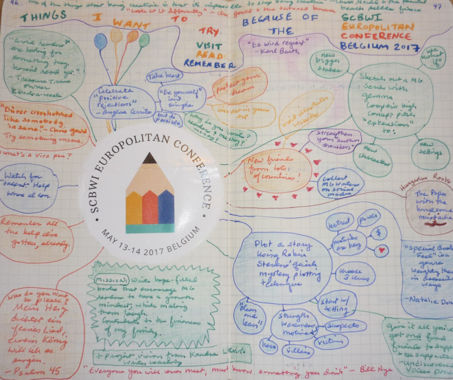 Hand-drawn doodle in pen and colored pencil with the heading 'Things I want to try, visit, read, remember because of the SCBWI Europolitan Conference Belgium 2017'