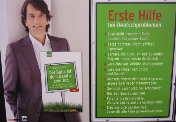 author and book cover photo with a bright green list of German grammar tips in entertaining language