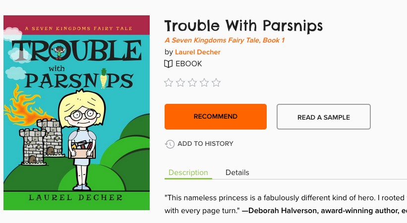 screenshot of Trouble With Parsnips bookcover and Recommend button and Read a Sample button