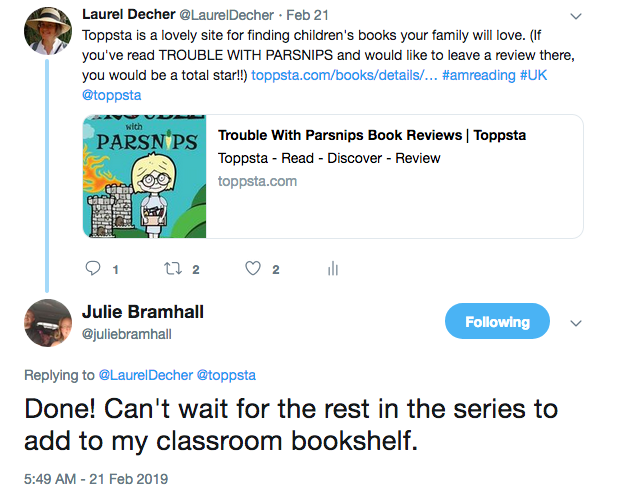 "screenshot of Tweet from reviewer in response to my post asking for a review: ""Done! Can't wait for the rest in the series to add to my classroom bookshelf."""