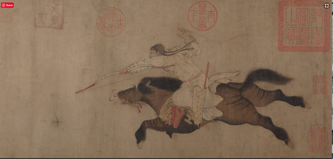 mounted archer from Chinese painting