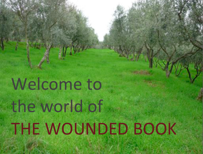 cover image of olive trees for The World of The Wounded Book