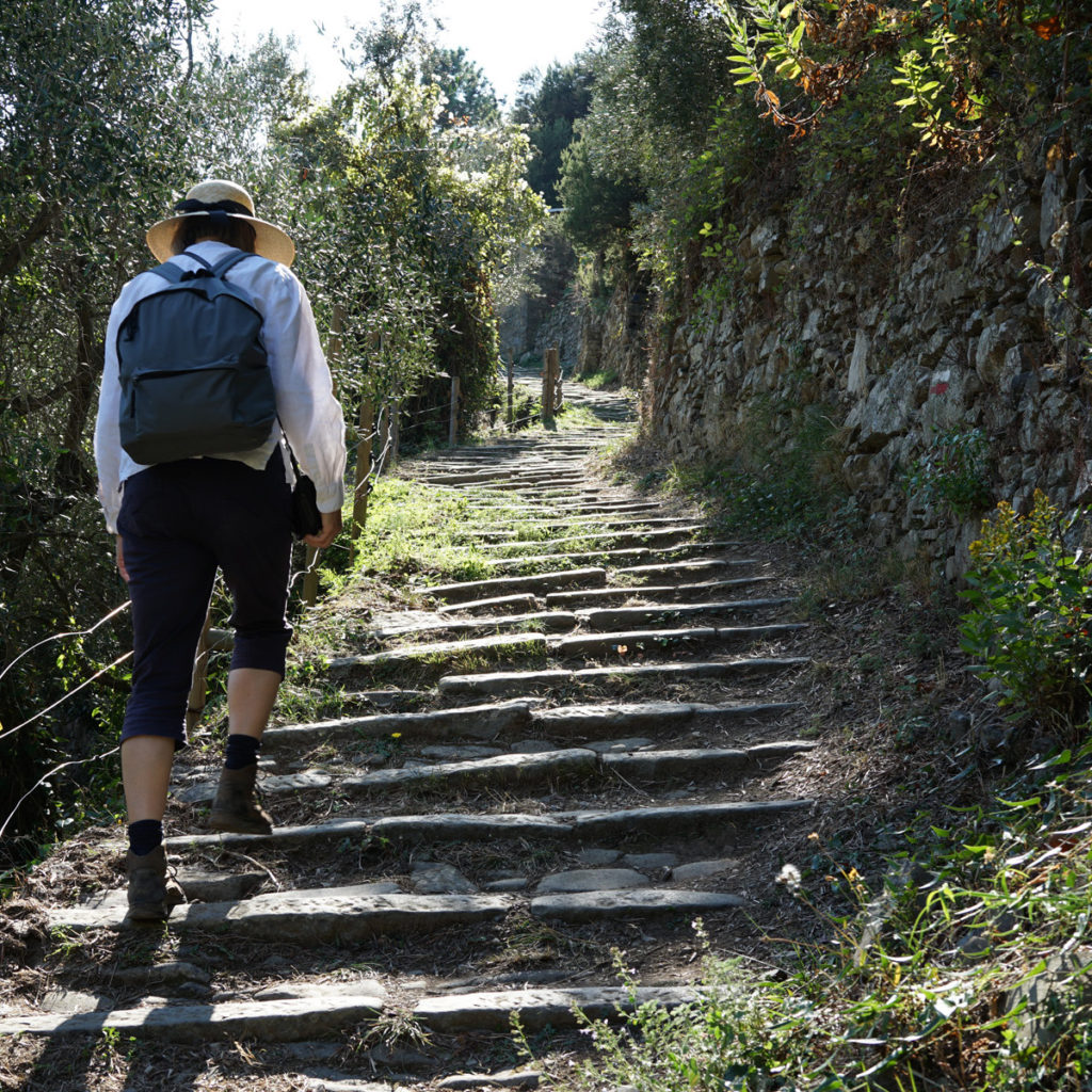 author hiking up stairs