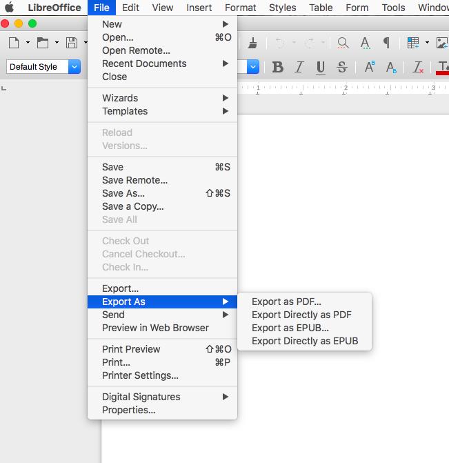 screenshot LibreOffice menu Export as PDF