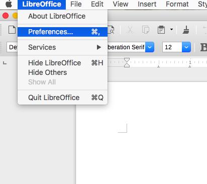 screenshot LibreOffice menu Preferences