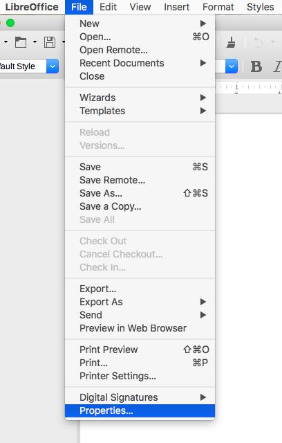 screenshot of LibreOffice dropdown menu Properties