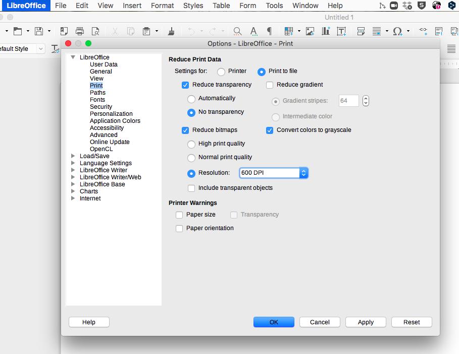 screenshot LibreOffice menu Print to File