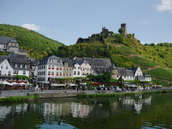 half-timbered houses and ruined castle in charming village of Beilstein