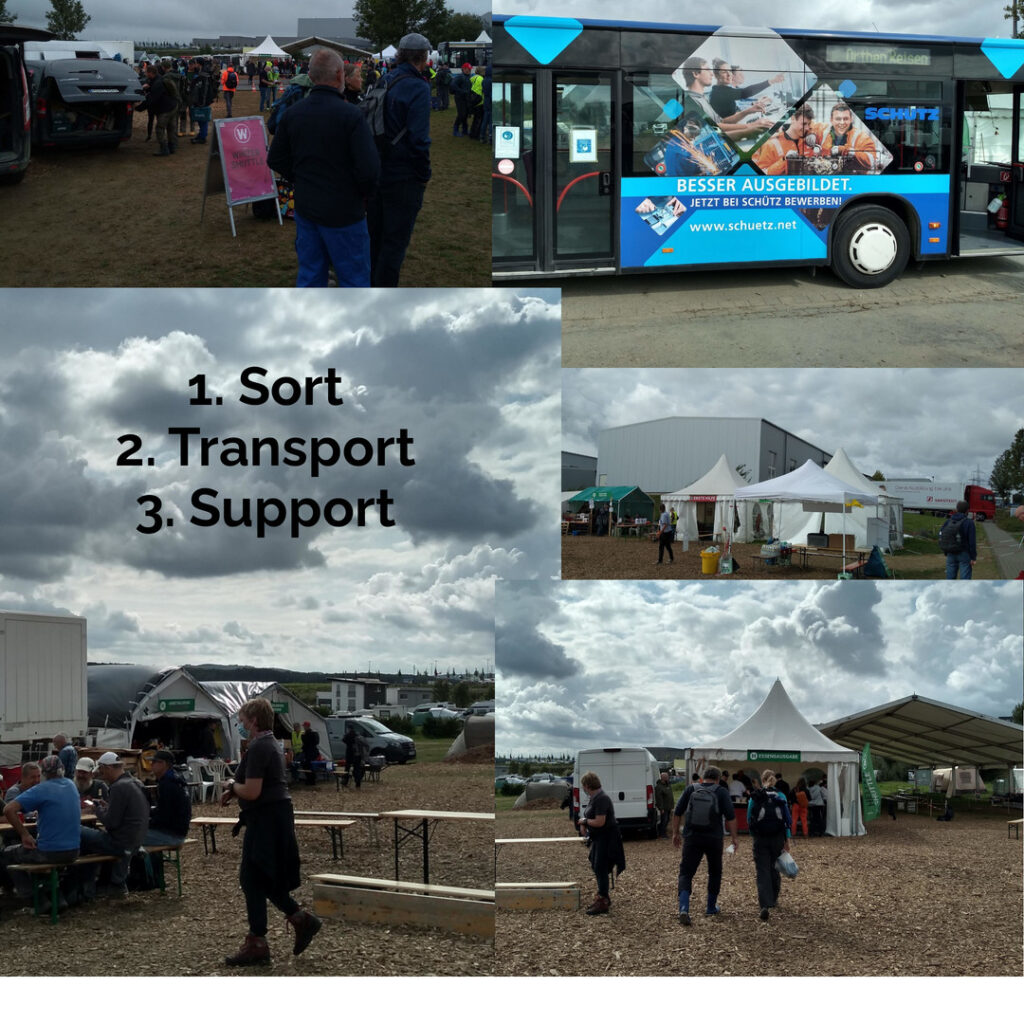 Bus, tents, food, first aid support for volunteers