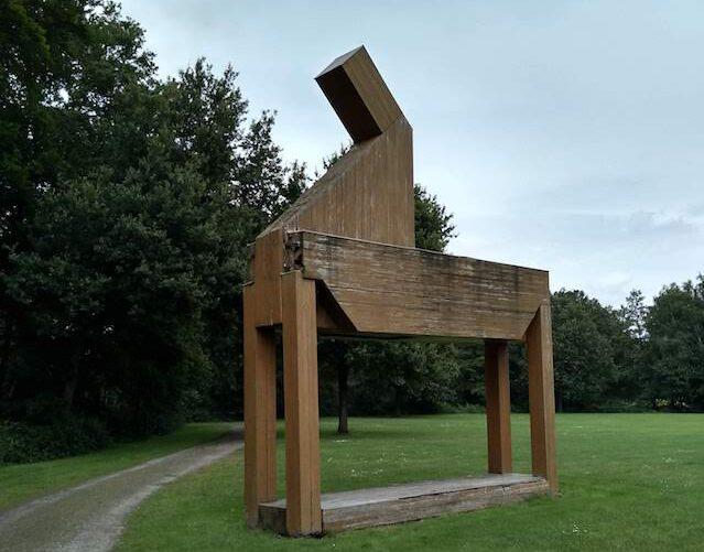 sculpture garden wooden horse