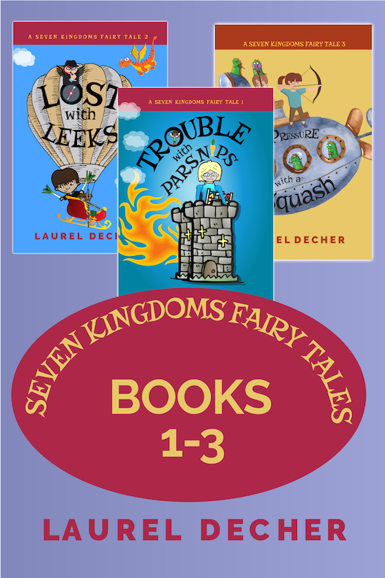 book cover showing first 3 books in A Seven KIngdoms Fairy Tale series